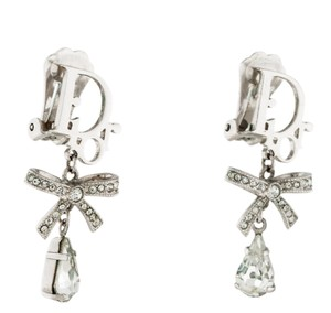 Christian Dior Silver-tone Christian Dior Logo embellished drop earrings