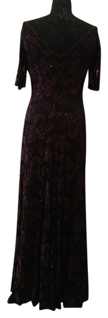 Item - Black with Brown Rose Lace Overlay Gown Long Formal Dress Size 10 (M)