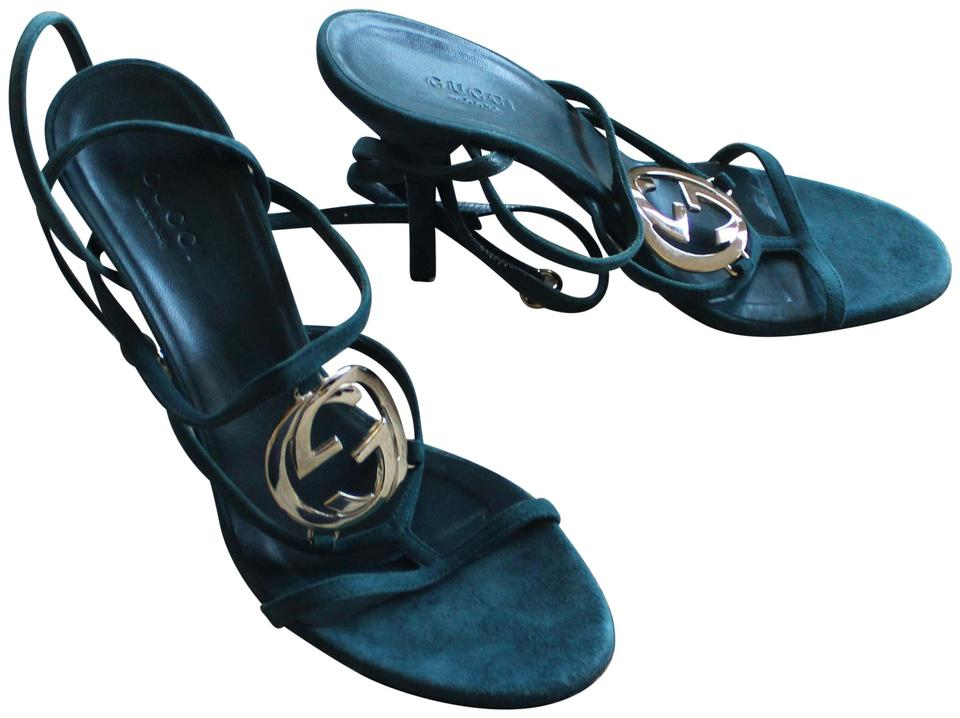 702b548379ddde Gucci Gold Hardware Embellished Guccissima Gg Strappy Turquoise Sandals  Image 0 ...