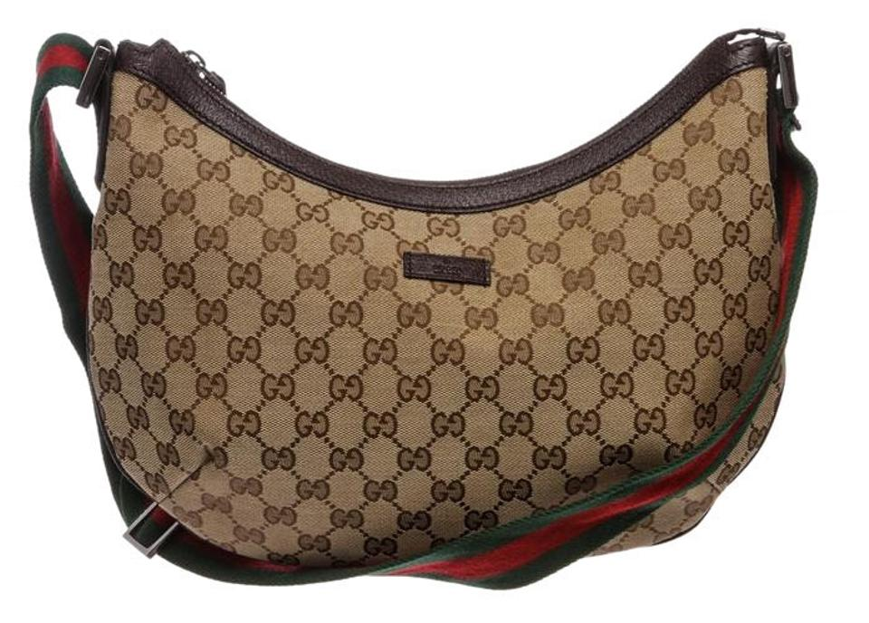 c0d5308d5590e5 Gucci Monogram Trim Half Moon Handbag Brown Canvas and Leather Cross Body  Bag