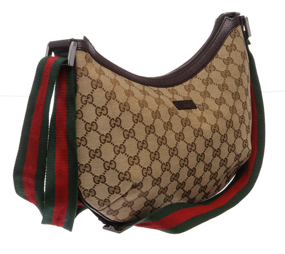 1fe24ab568431f Gucci Monogram Trim Half Moon Handbag Brown Canvas and Leather Cross Body  Bag - Tradesy