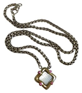 David Yurman STERLING SILVER / 18K GOLD QUATREFOIL PENDANT WITH MOTHER OF PEARL