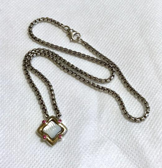 David Yurman STERLING SILVER / 18K GOLD QUATREFOIL PENDANT WITH MOTHER OF PEARL Image 10