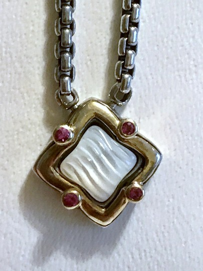 David Yurman STERLING SILVER / 18K GOLD QUATREFOIL PENDANT WITH MOTHER OF PEARL Image 4