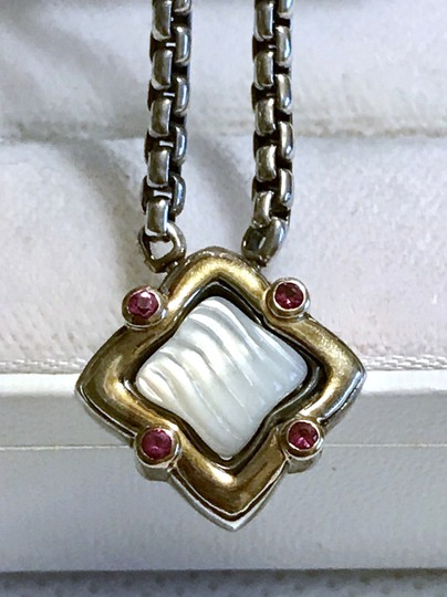 David Yurman STERLING SILVER / 18K GOLD QUATREFOIL PENDANT WITH MOTHER OF PEARL Image 5