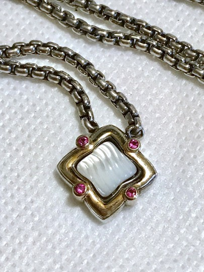 David Yurman STERLING SILVER / 18K GOLD QUATREFOIL PENDANT WITH MOTHER OF PEARL Image 6