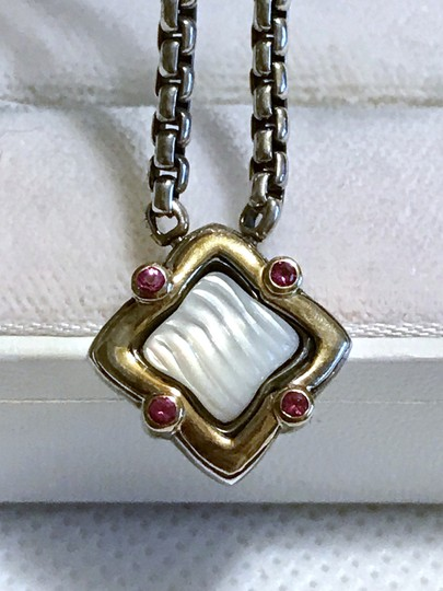 David Yurman STERLING SILVER / 18K GOLD QUATREFOIL PENDANT WITH MOTHER OF PEARL Image 7