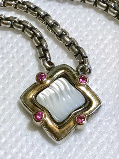 David Yurman STERLING SILVER / 18K GOLD QUATREFOIL PENDANT WITH MOTHER OF PEARL Image 8