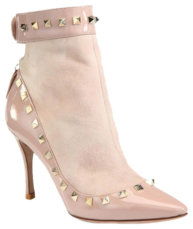 Valentino Nude Spiky Beige 'rockstud' Spiky Nude Ankle 37.5 Boots/Booties da2926