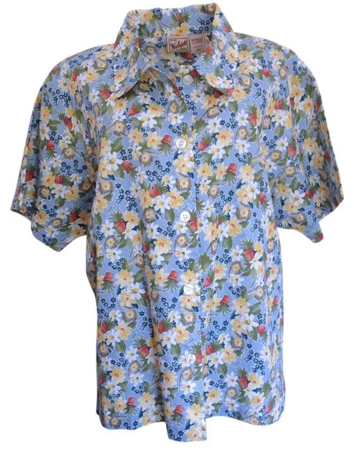 Woolrich Top Blue multi garden print