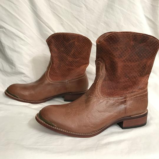 Lucchese Leather Distressed Western Cowboy Brown Boots Image 4