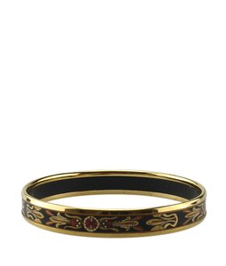 Hermes Hermes Black Enamel & Gold-tone Bangle Bracelet (137488)