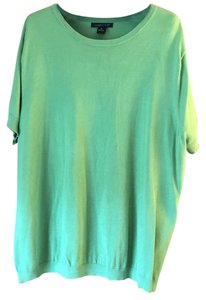 August Silk Plus-size Short Sleeve Rounded Neckline Banding Sweater