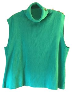 DG2 by Diane Gilman Sleeveless Turtleneck Plus-size Button Accents Sweater