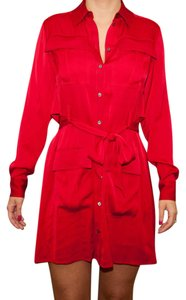 Marissa Webb short dress Blue Red #redheididress #shirtdress #charmeuse on Tradesy
