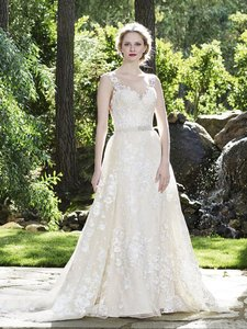 Casablanca Champagne/Nude/Ivory/Silver Lace 2266 Modern Wedding Dress Size 6 (S)