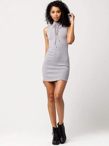 Blu Pepper short dress Slate Lace Up Cotton on Tradesy