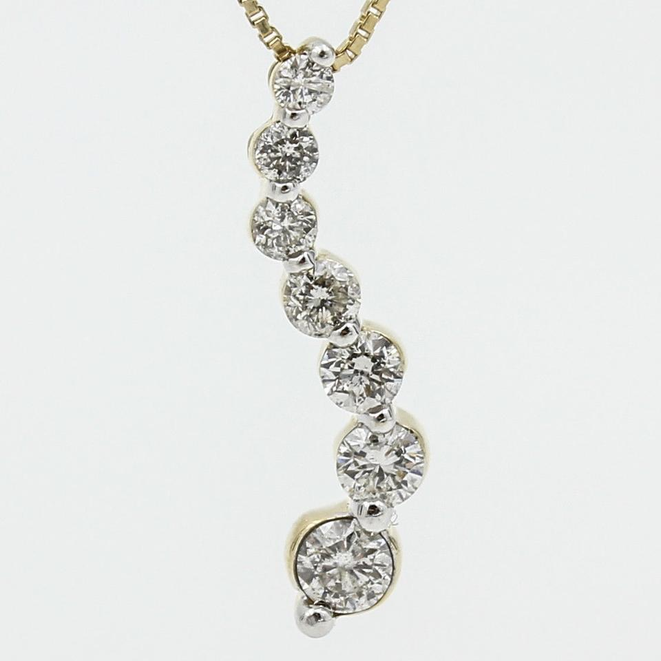 Journey diamond pendant on 18 chain in 14k yellow gold for Fine jewelry diamond pendants