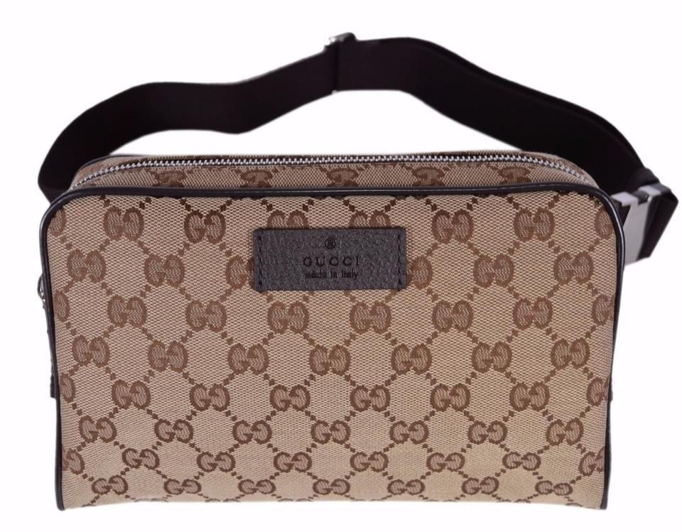 fa97caf58 Gucci New 449174 Gg Guccissima Small Gg Waist Belt Fanny Pack Brown Canvas Cross  Body Bag