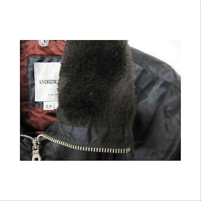 Andrew Marc Womens Faux Fur Trimmed Coat Browns Jacket