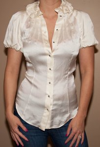 Alexander McQueen #silkblouse #shortsleeve Top Cream silk
