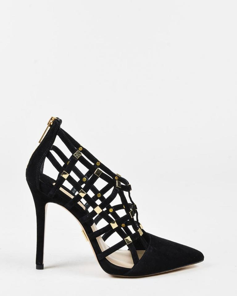 0099033ad0be Michael Kors Collection Black Gold Agnes Pointed Cage Heels Pumps ...