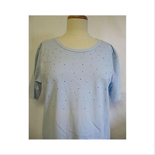 Other Womens The Learsi Collection Sport Light Embellished T Shirt Blues