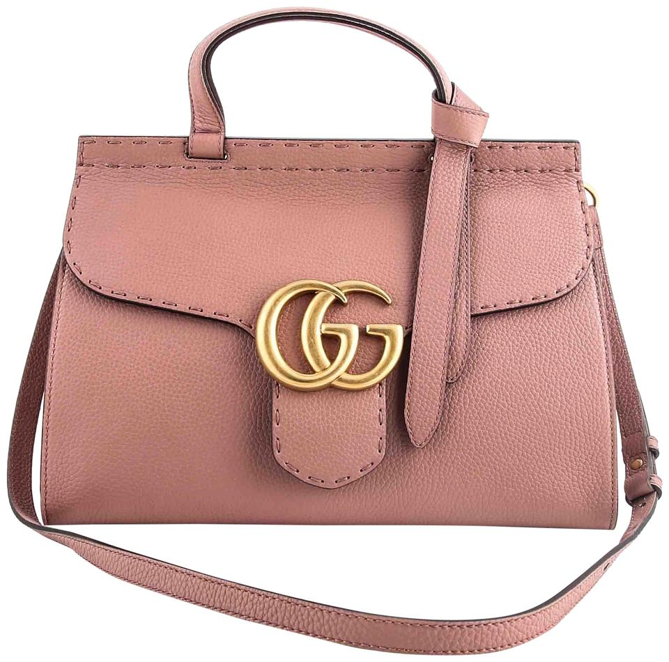2c594cbef0de Gucci Marmont Gg Top Handle Antique Rose Pink Leather Shoulder Bag ...
