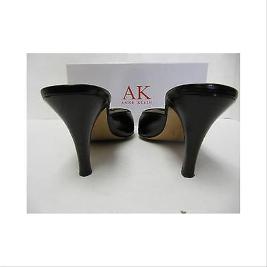 Anne Klein Womens Maberyl Leather Heels Blacks Mules