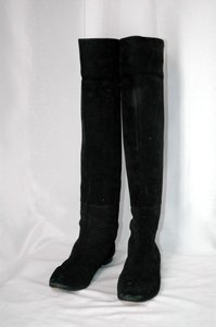 Alexandra Neel Suede Knee High Black Boots
