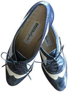 Enzo Angiolini Vintage Two-tone Leather Navy and Beige Oxford Flats