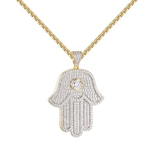 Master Of Bling Solitaire Hamsa Hand Pendant Evil Eye Iced Out Sterling Silver