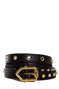 Burberry Black Leather Skinny Belt With Gold Tone Hardware