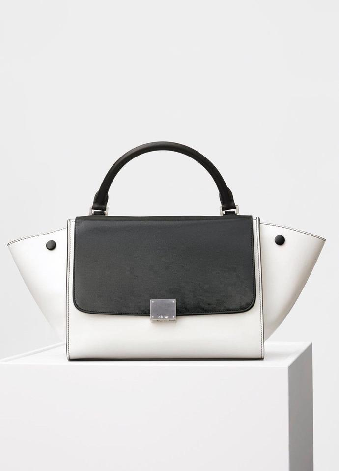 Céline Tze Handbag Black White Calfskin Leather Tote Tradesy