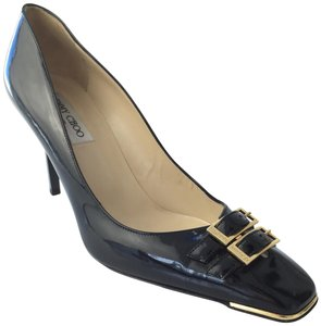 Jimmy Choo Buckle Gold Patent Leather black Pumps