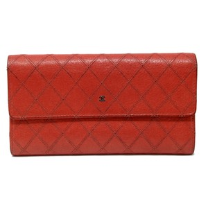 Chanel Signature Scarlet Red Diamond Quilted CC Monogram Chrome Long Wallet