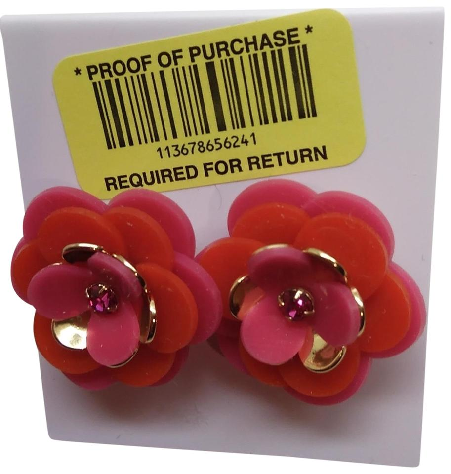 Kate Spade Hot Pink And Orange Flower Earrings Tradesy