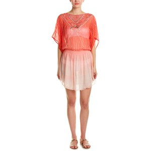 2a4861501c91b Parker Pink Coral Ombre Passionata Beach Sunset Beaded Blouson Caftan XS S