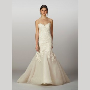 Liancarlo Ivory Alencon Lace and Tulle Drop Waist French Over Strapless Mermaid Feminine Wedding Dress Size 4 (S)