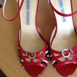 Luciano Padovan Red,black,cream. Sandals