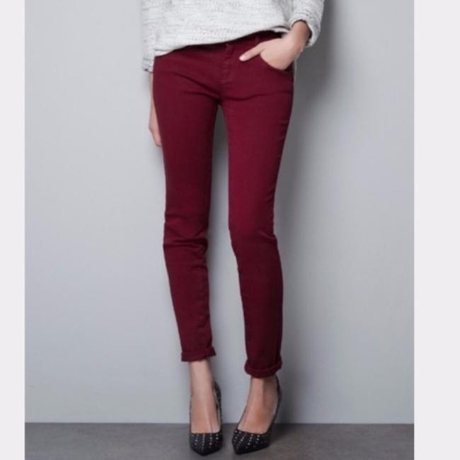 Item - Burgundy Red Soft Sateen Cropped Midrise Ankle Zip Jeans Pants Size 2 (XS, 26)