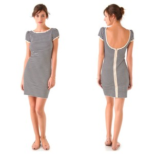 06211d83c4a Juicy Couture short dress Blue   White Nautical Stripe Puff Sleeve Exposed  Zipper on Tradesy
