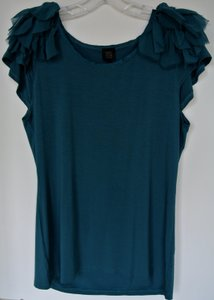 Saks Fifth Avenue Ruffle Sleeve Viscose Size Large Sale Top Green