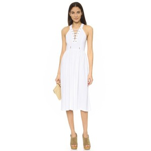 re:named short dress white Laceup Lace Up Midi Flowy on Tradesy