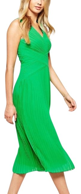Item - Green Midi Pleat Panel Mid-length Cocktail Dress Size 0 (XS)