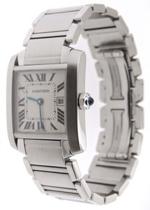 Cartier Cartier Tank Francaise SS Midsize 2465 Date 26mm Watch and Box & P