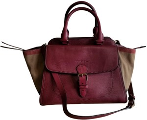 8ac53be86b Burberry Harcourt Medium Red Leather and Brit Grainy Canvas Check ...