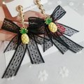Other Beautiful Big black Lace Bowknot Pineapple charm Dangle Earrings