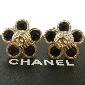 Chanel CHANEL Vintage CC Logos Flower Motif Earrings