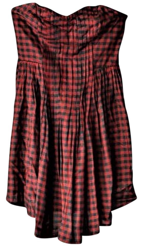 ac13ad777b34 Kimchi Blue Burgundy and Black Checker New Without Tags Bandeau Mini Unworn Mint  Condition Casual Dress